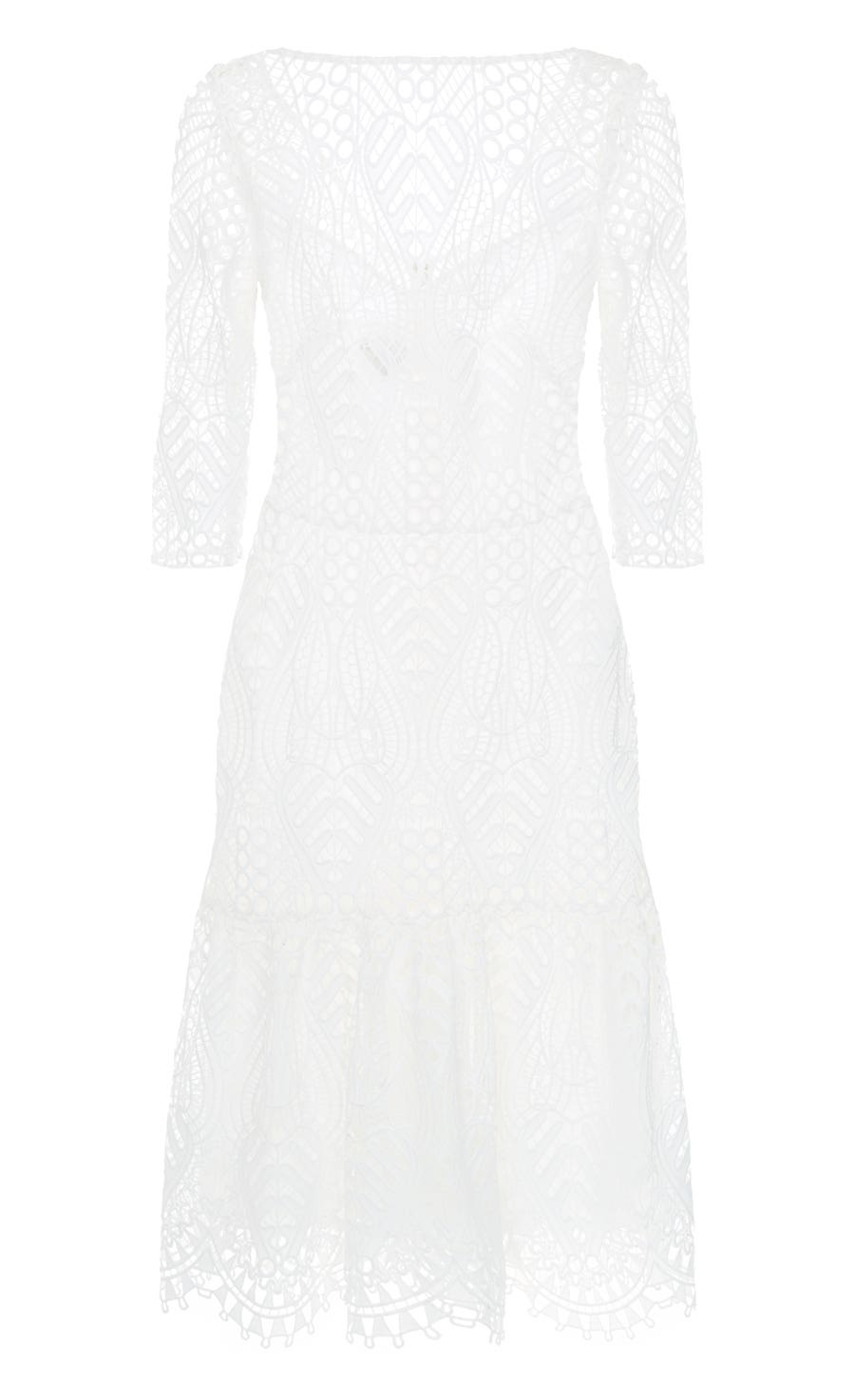 New Moon Fitted Dress, White