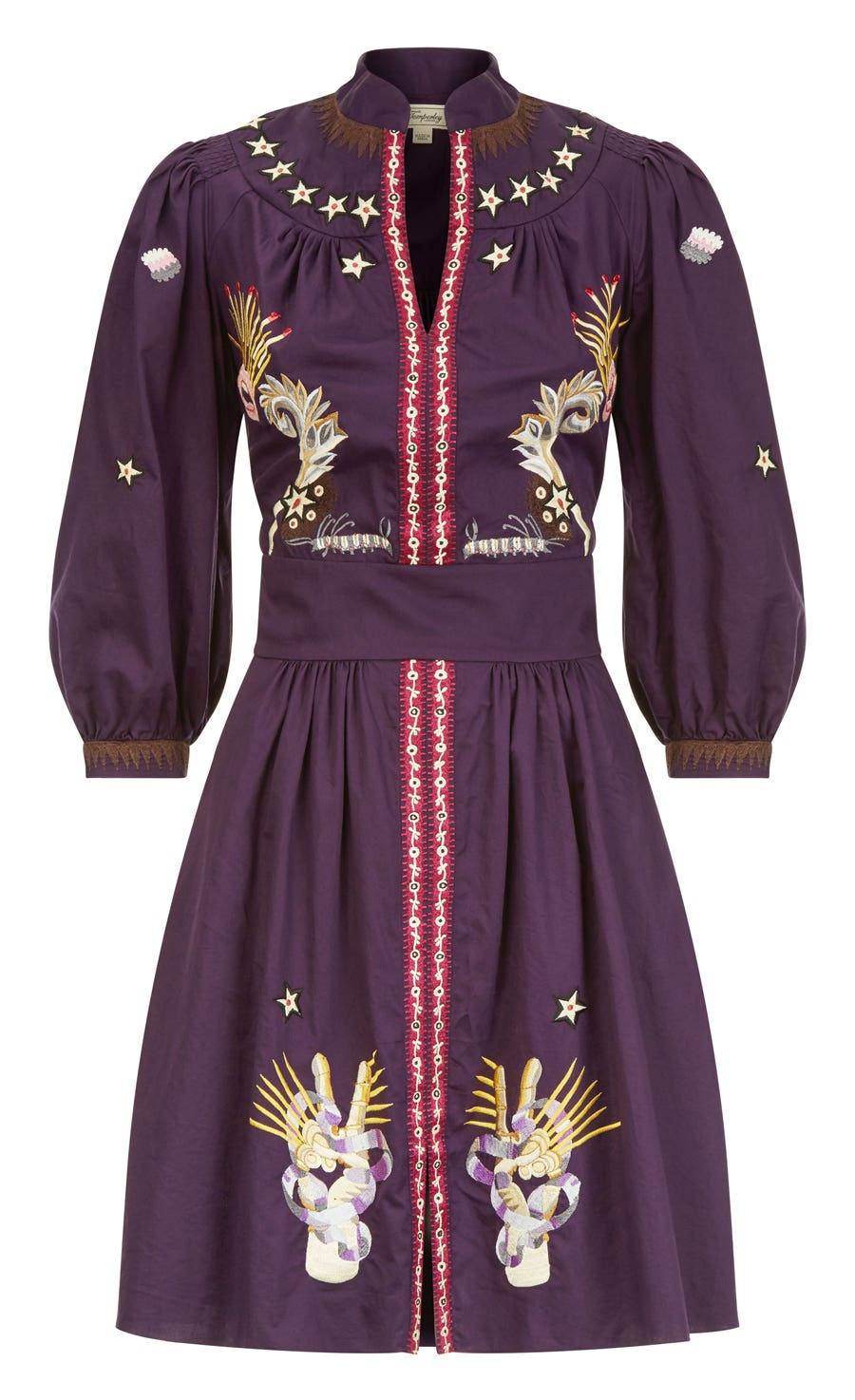 Peacock Mini Dress, Aubergine Mix