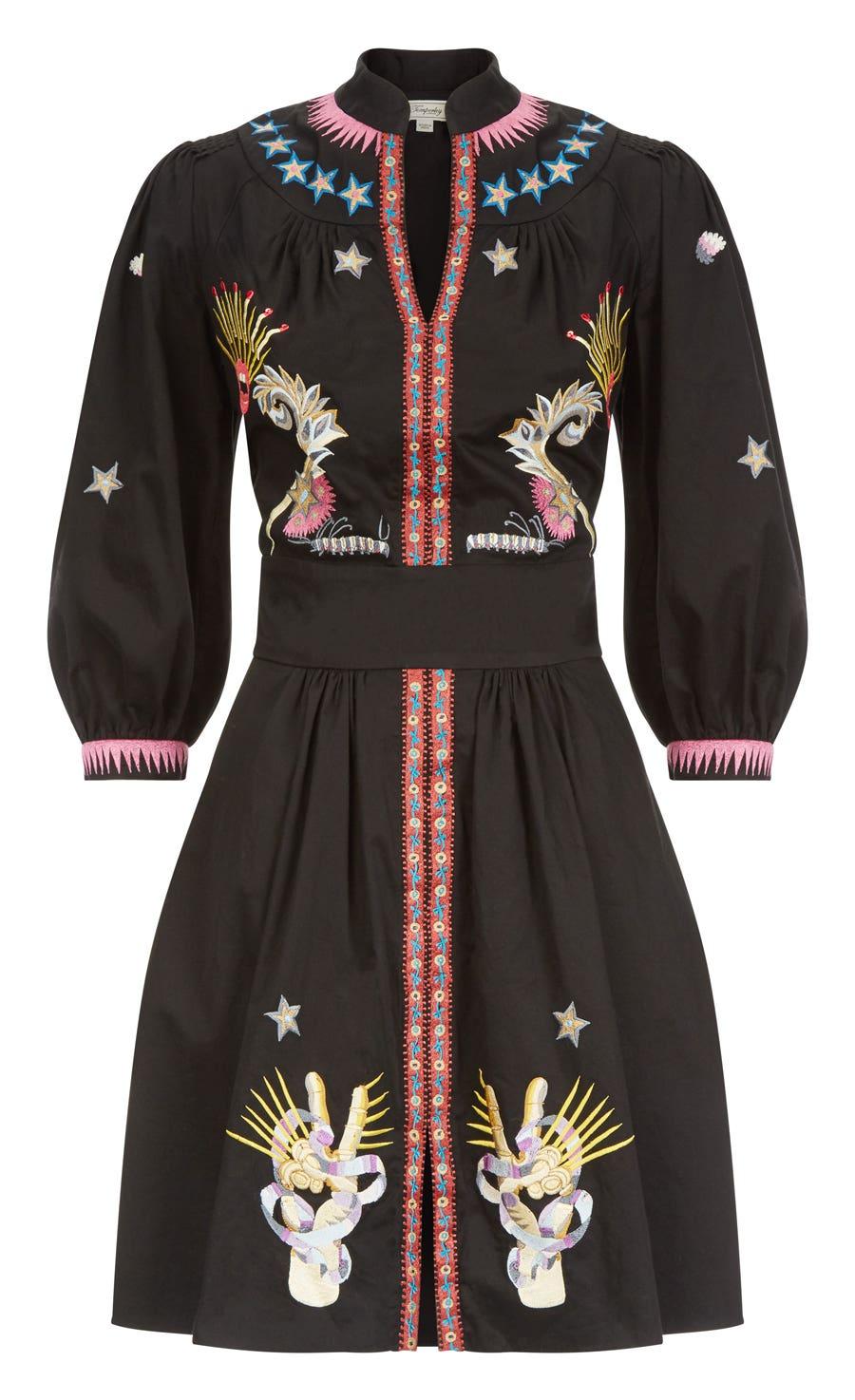 Peacock Mini Dress, Black Mix