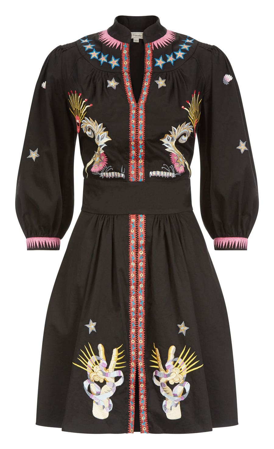 Peacock Mini Dress, Black Mix