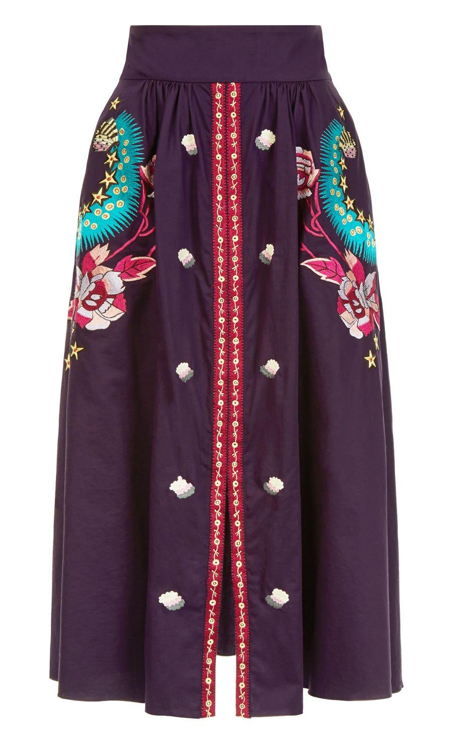 Peacock Skirt, Aubergine Mix