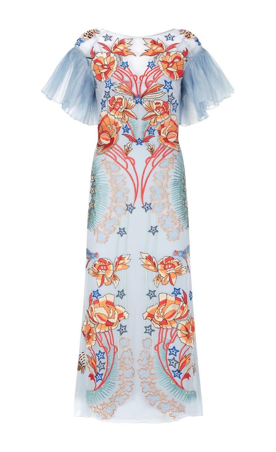 Porcelain Sleeved Dress, Periwinkle Mix