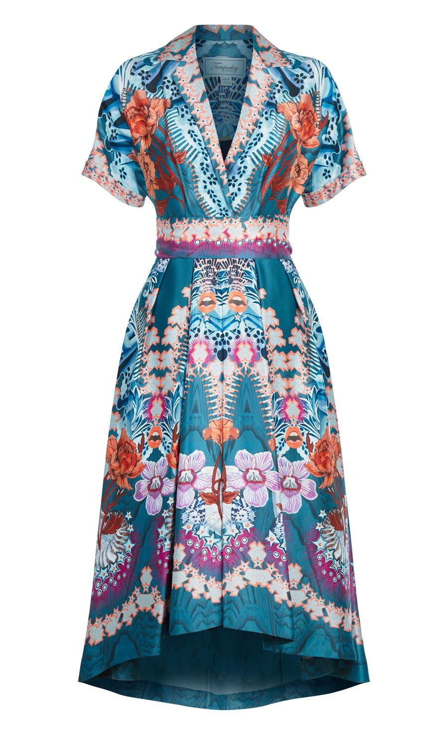 Pipe Dream Belt Dress, Peacock Mix