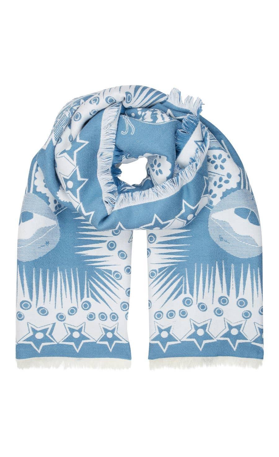 Shell Blanket Scarf, White Mix