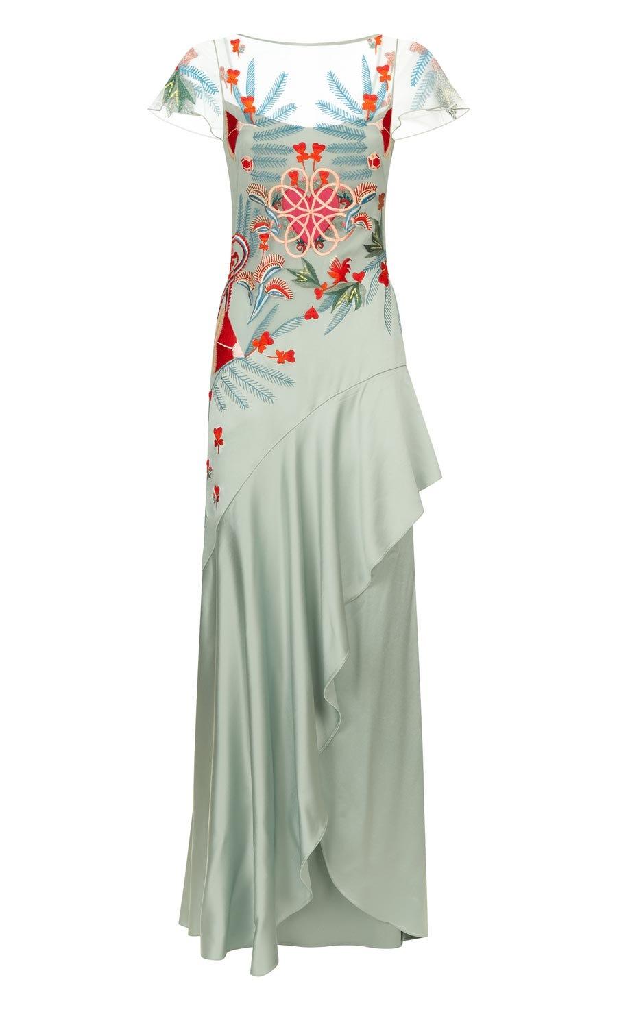 Botanist Long Dress, Pale Lichen