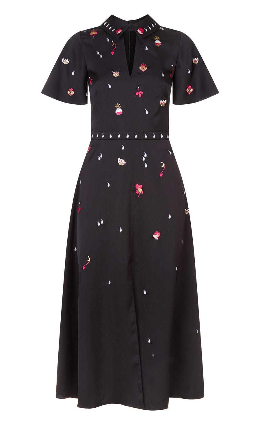 Saturn Collar Dress, Black