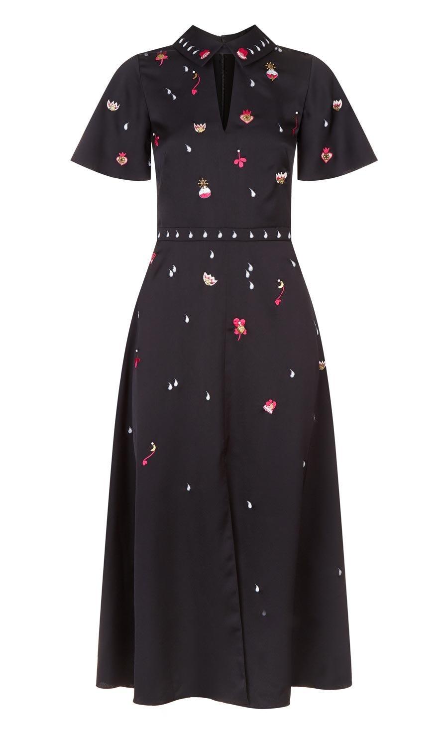 Saturn Collar Dress, Black