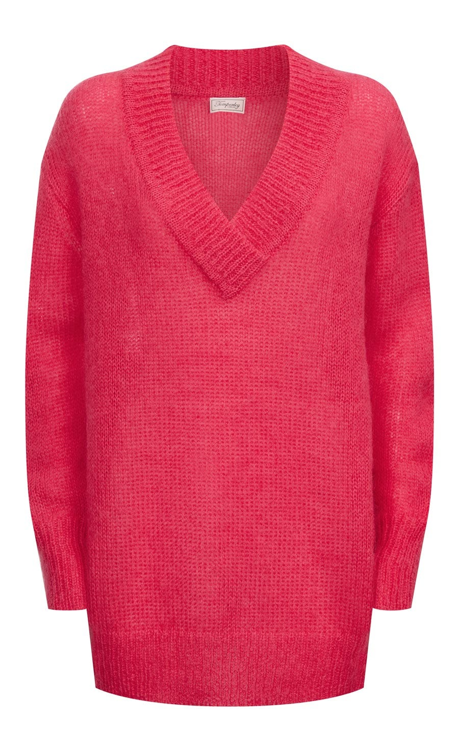 Iron V Neck Jumper, Flamingo
