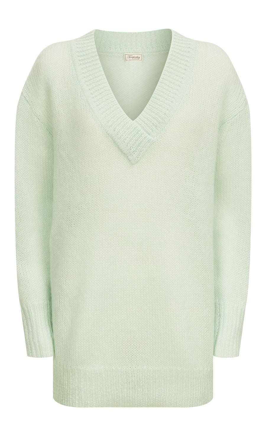 Iron V Neck Jumper, Pale Lichen