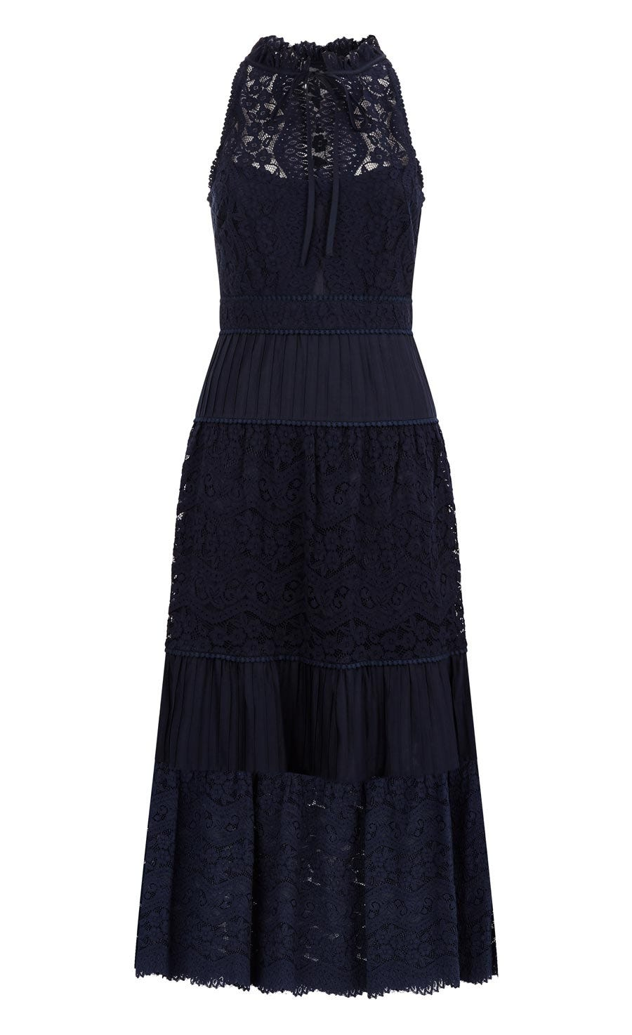 Lunar Lace Midi Dress, Midnight