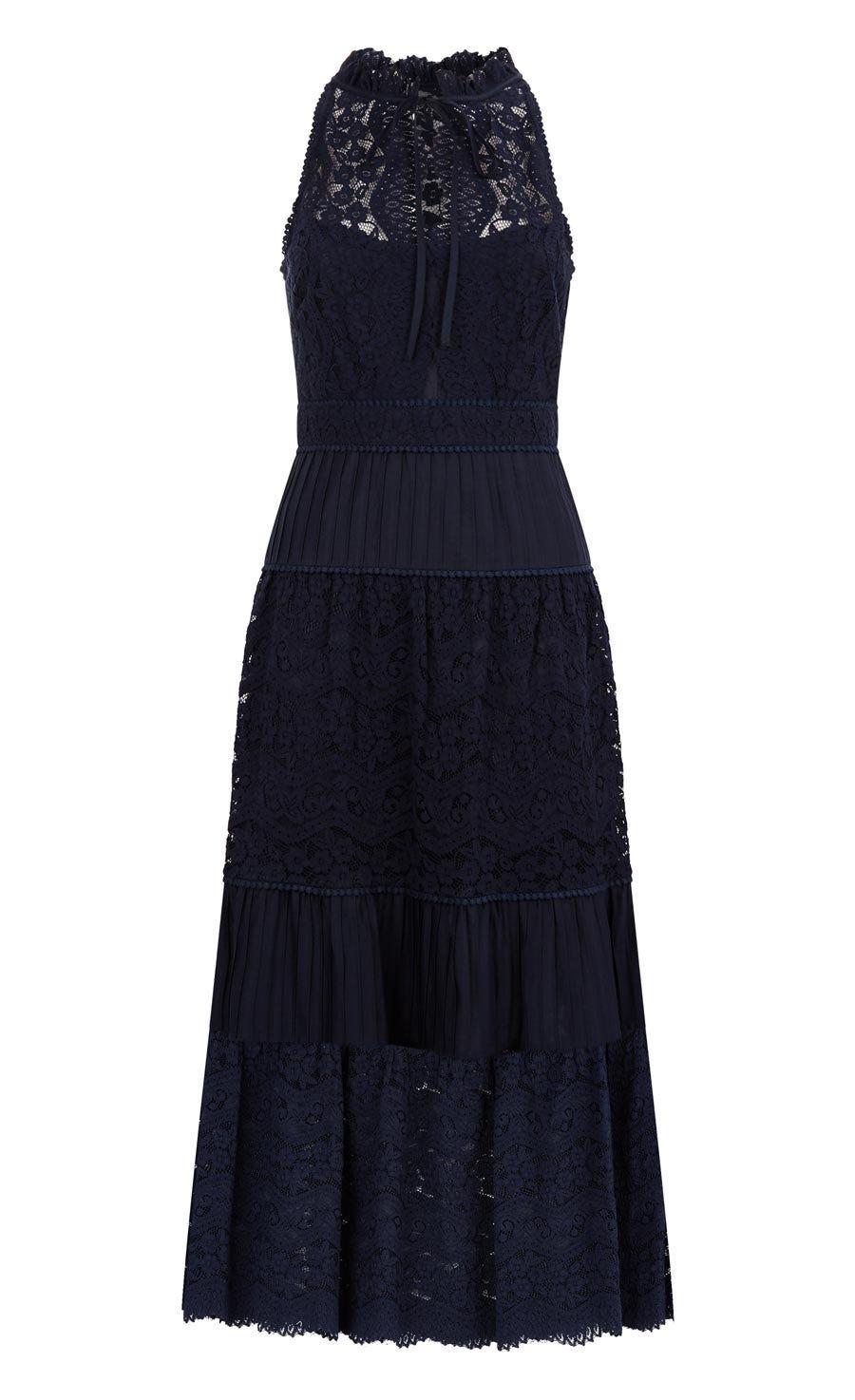 Lunar Lace Midi Dress, Midnight