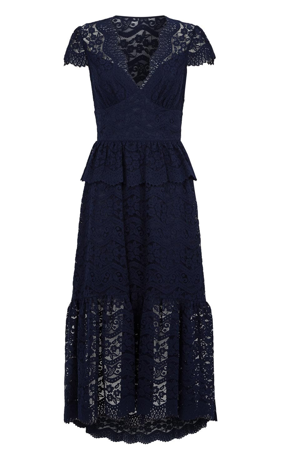 Lunar Lace V Neck Dress, Midnight