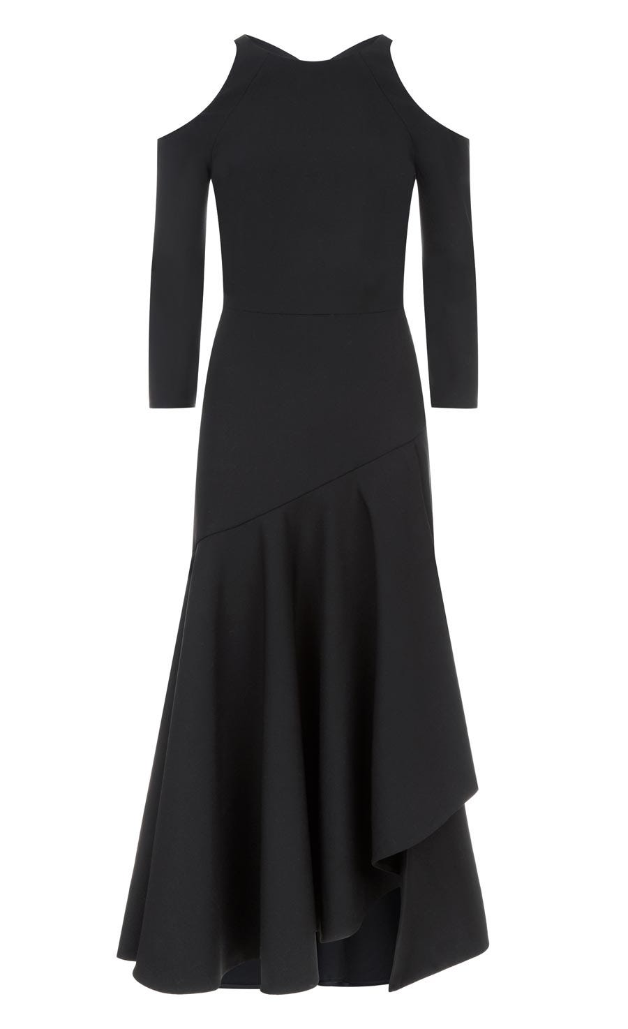 Mercury Plain Ruffle Dress, Black
