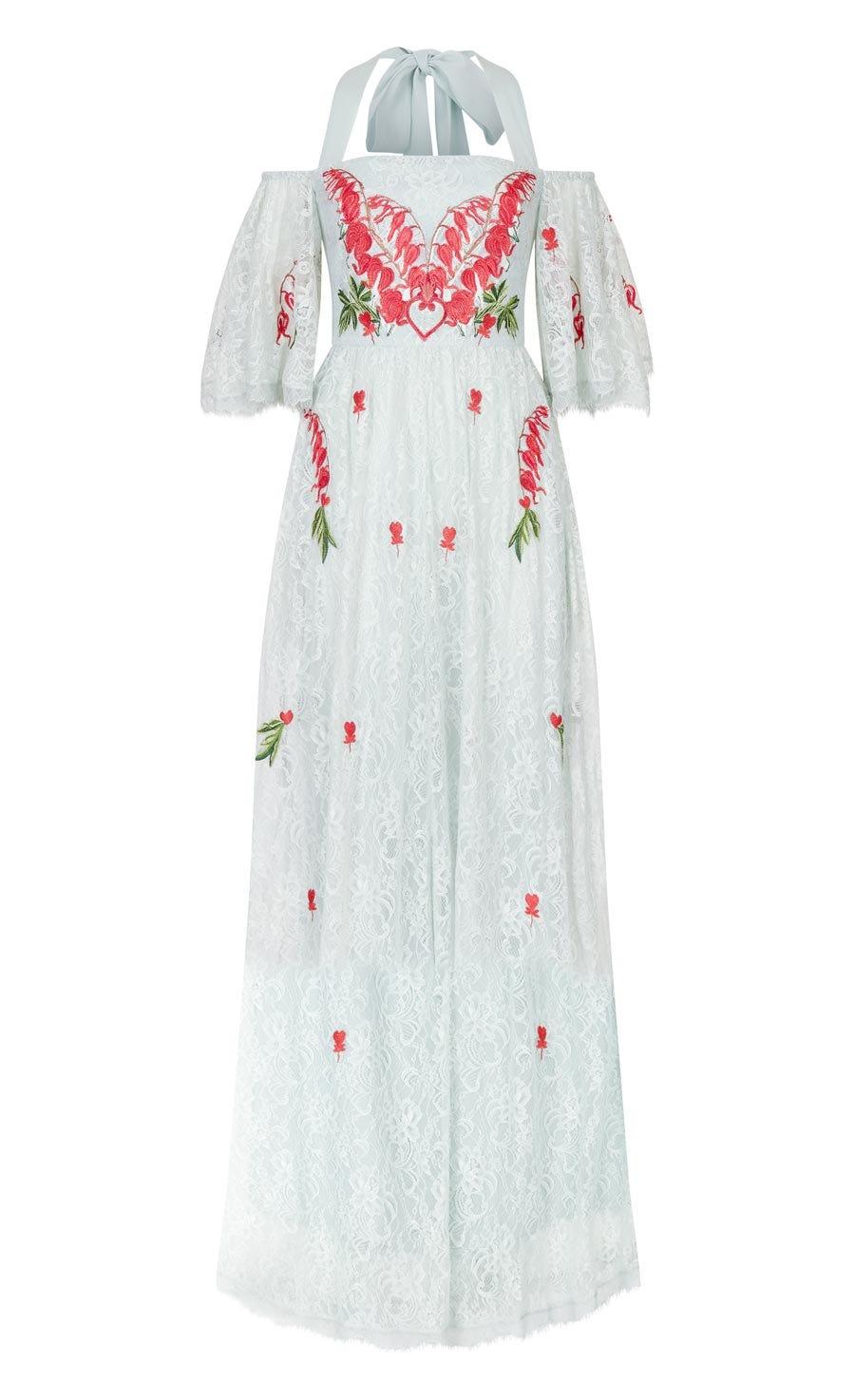 Potion Off Shoulder Dress, Pale Lichen
