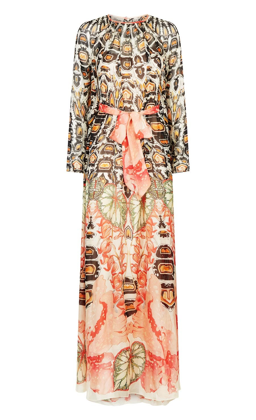 Quartz Printed Bow Dress, Cinnamon Mix