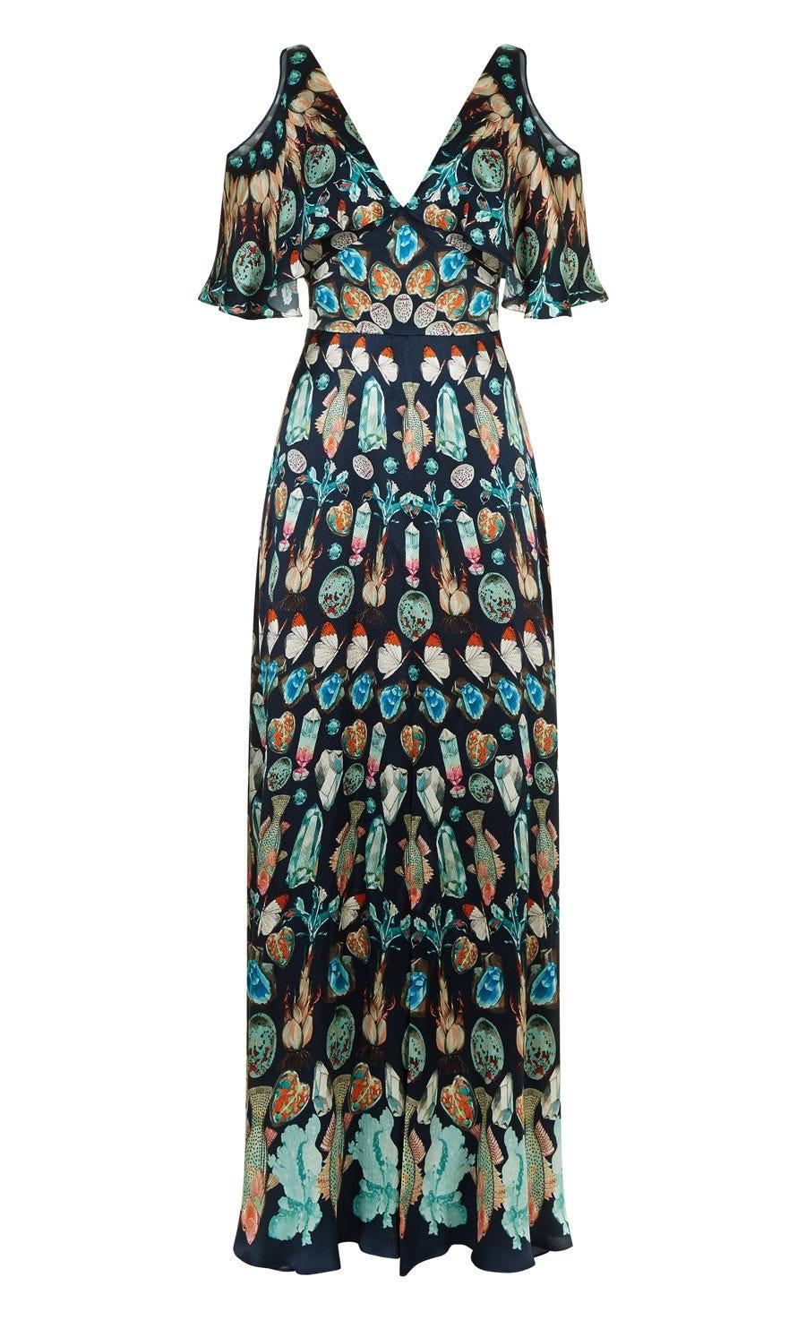 Quartz Printed Long Dress, Midnight