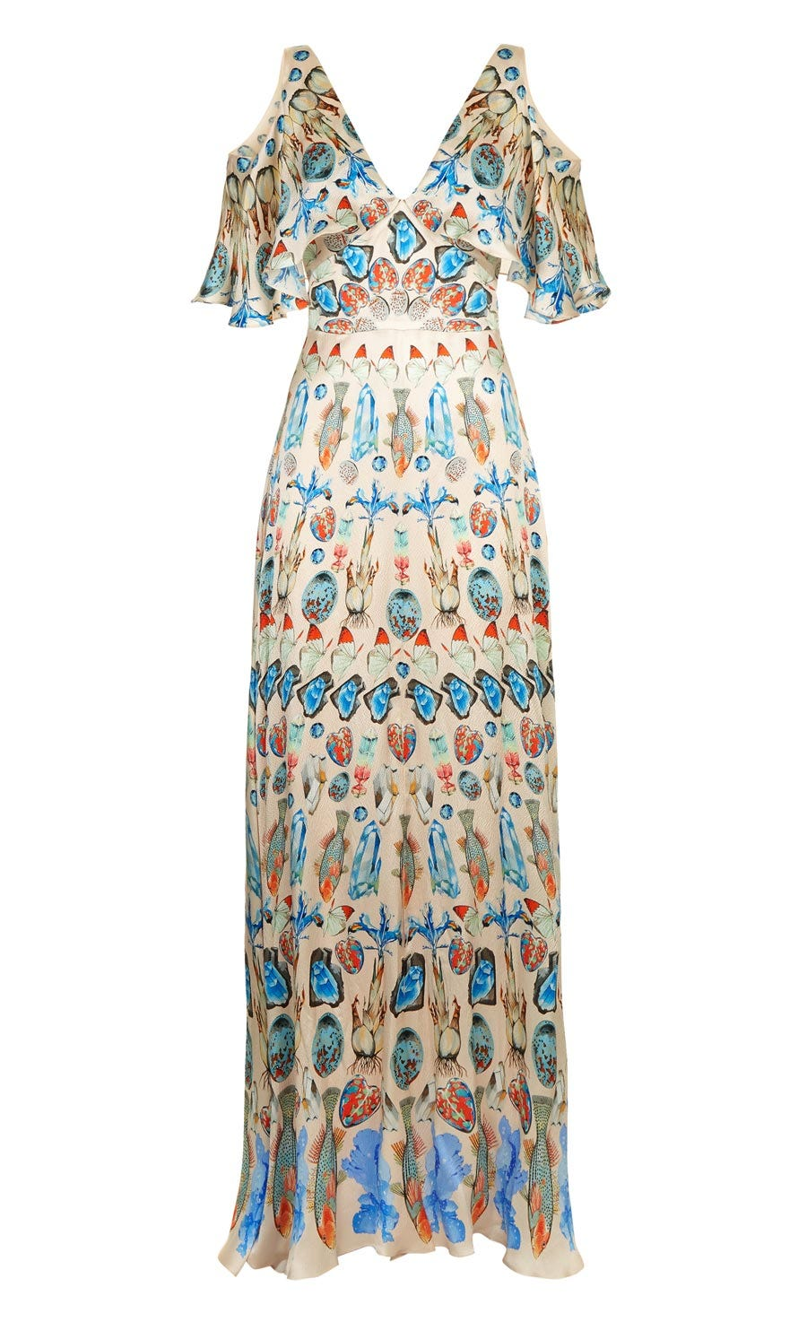 Quartz Printed Long Dress, Shell
