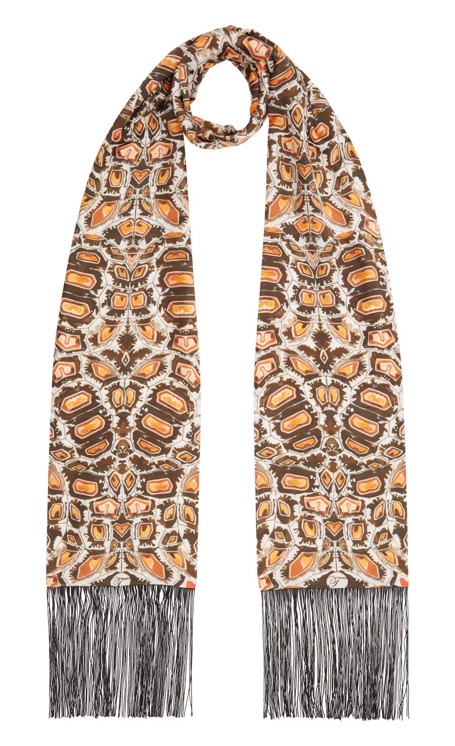 Spiral Printed Dinner Scarf, Cinnamon Mix
