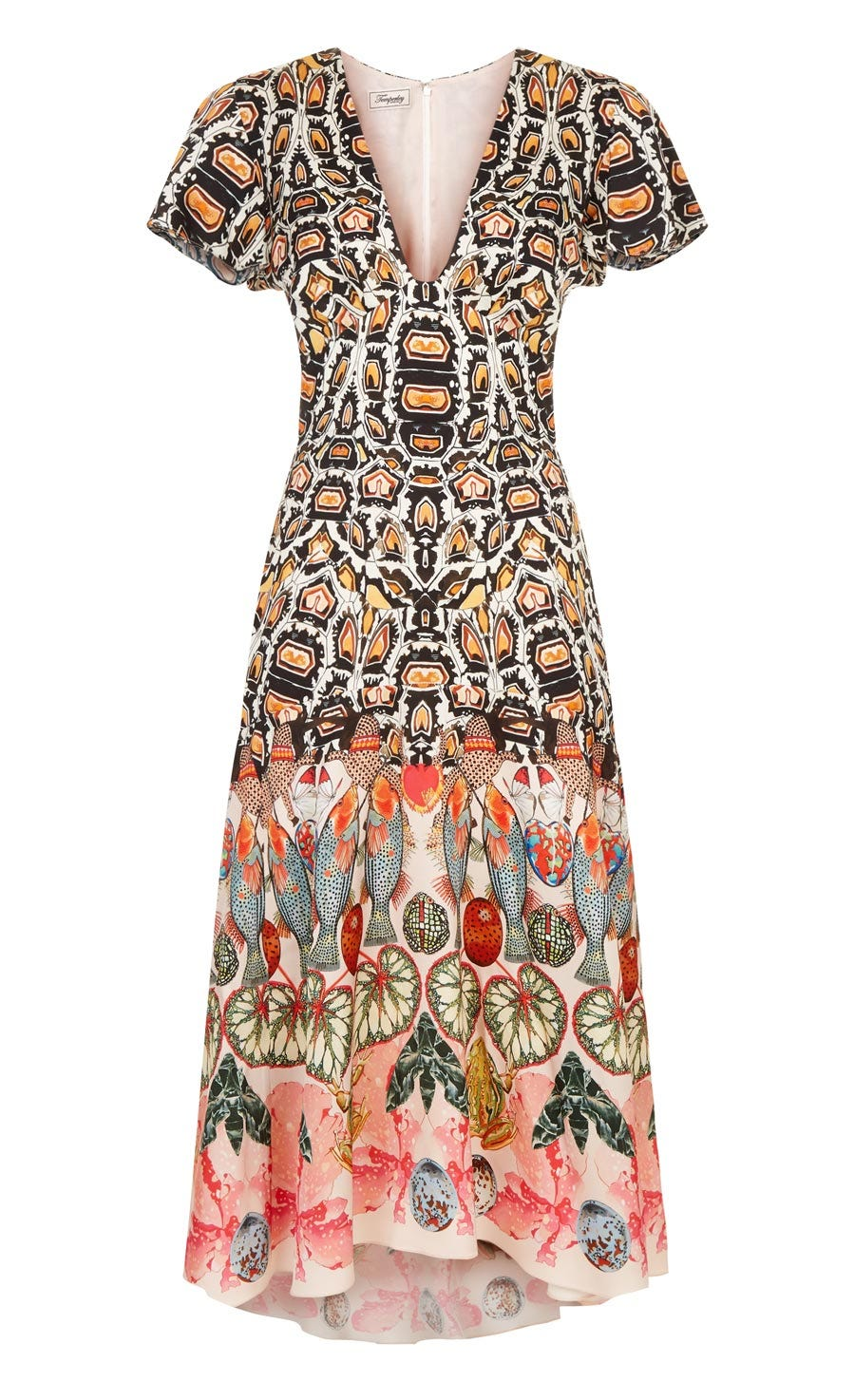 Spiral Printed Dress, Cinnamon Mix