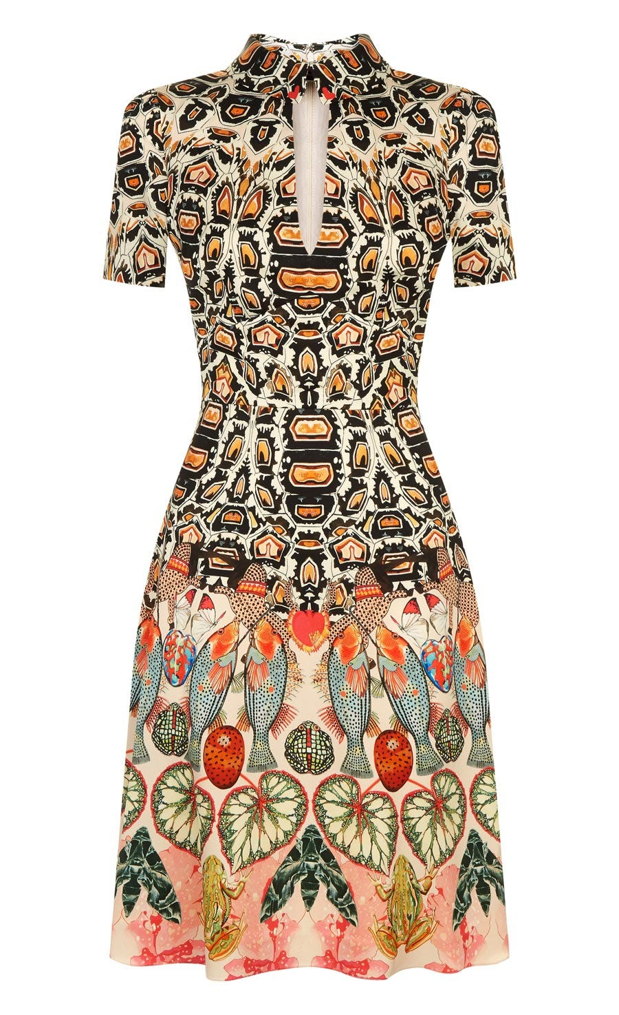 Spiral Printed Mini Dress, Cinnamon Mix