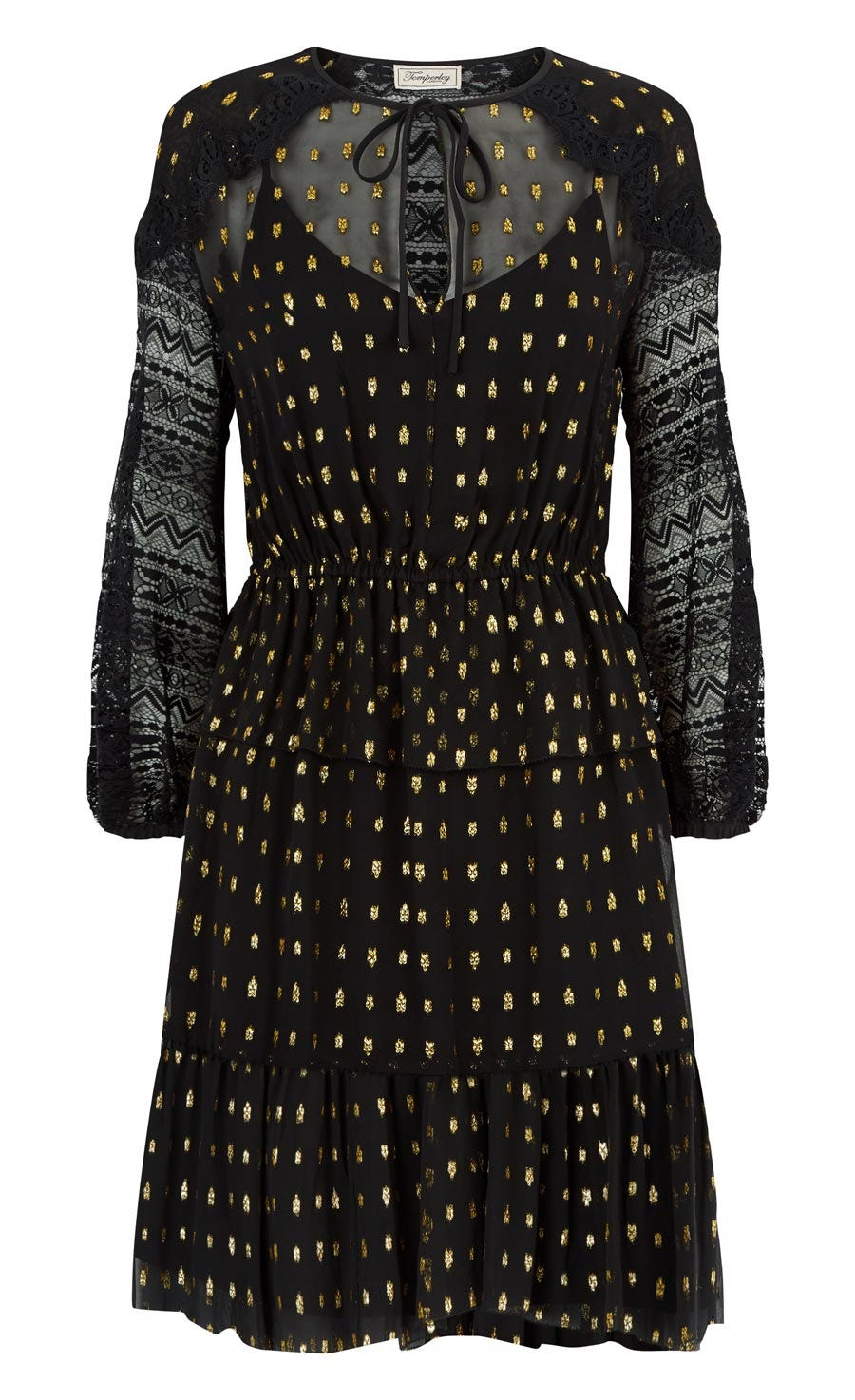 Wondering Lace Sleeved Dress, Black Mix