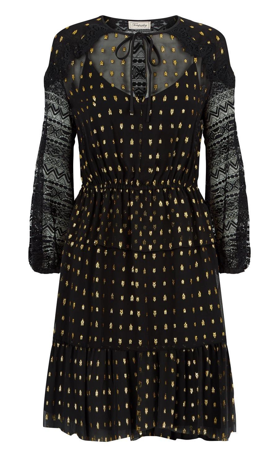 Wondering Lace Sleeved Dress, Black Mix