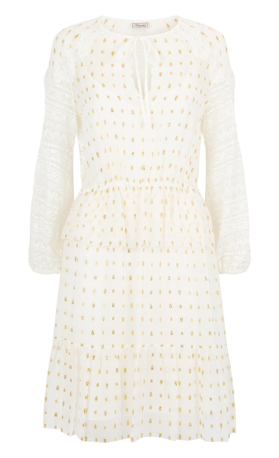 Wondering Lace Sleeved Dress, White Mix
