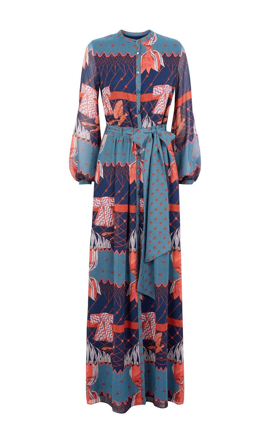 Aerial Printed Long Dress