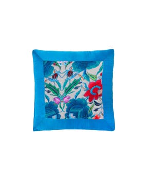Lotus Print Embroidered Cushion