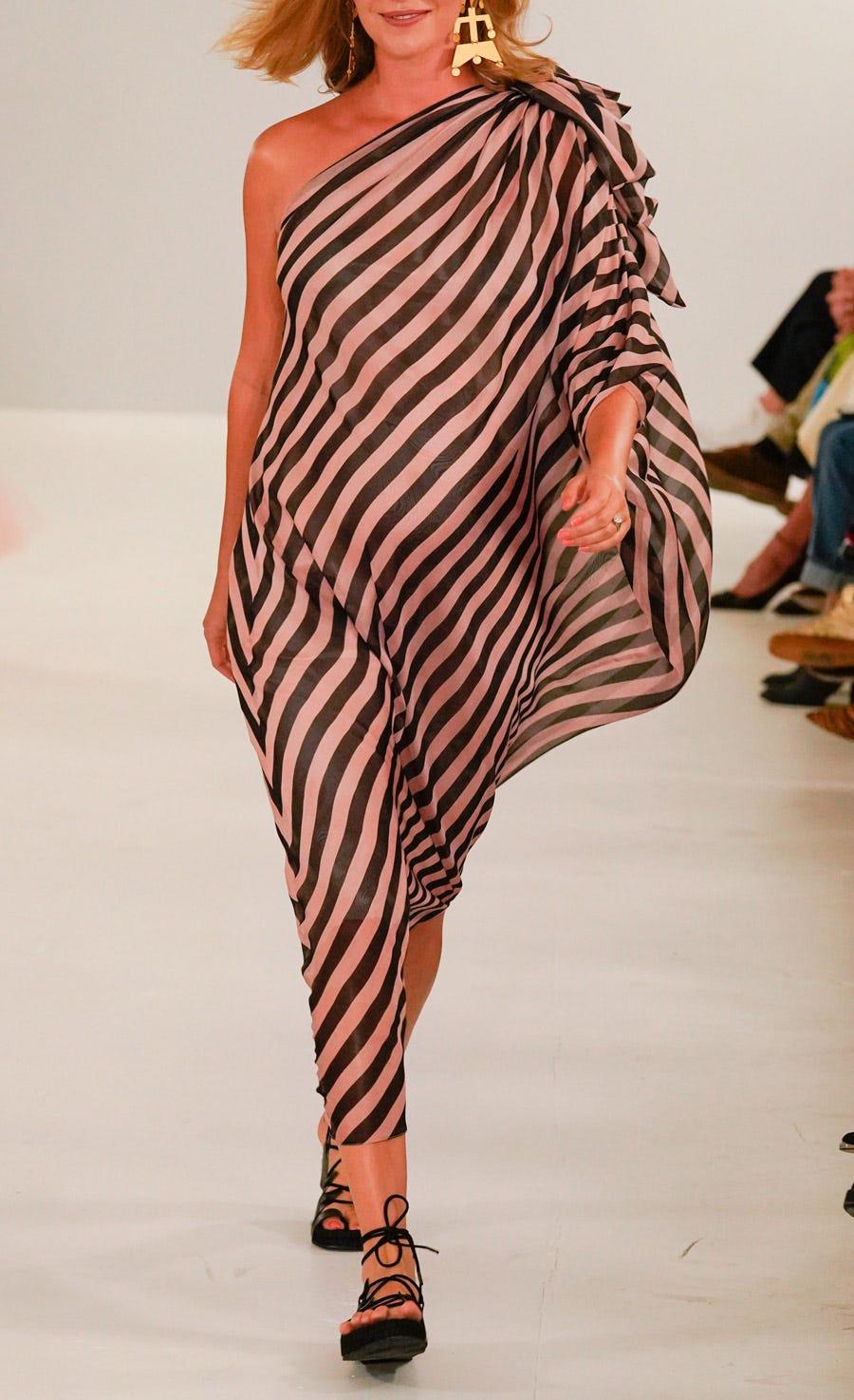 Linden Stripe Draped Dress