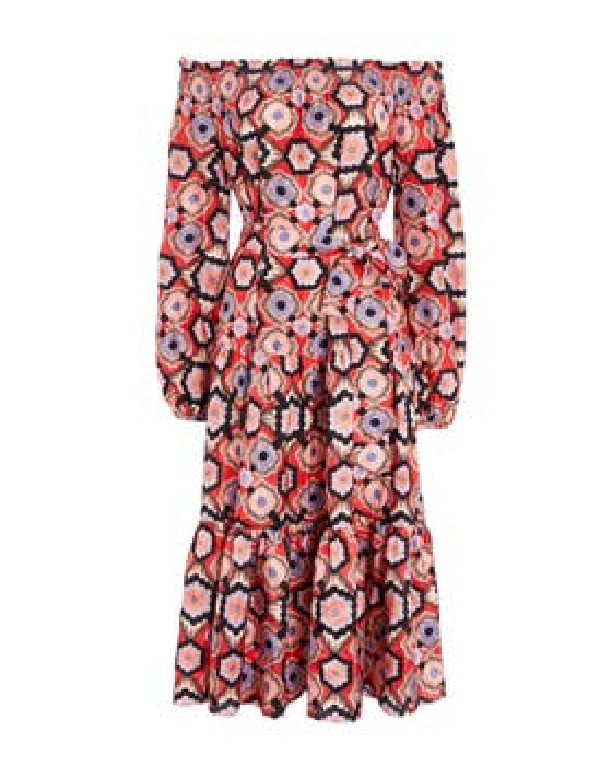 Crochet Print Off Shoulder Dress