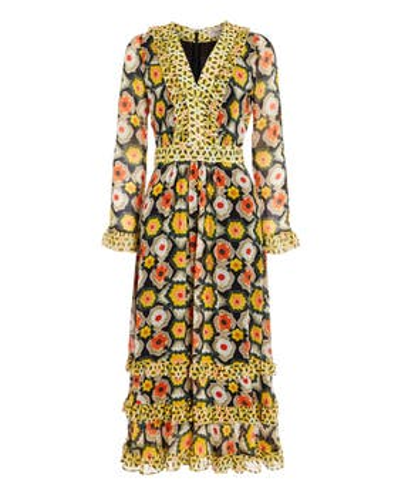 Crochet Print V-Neck Dress