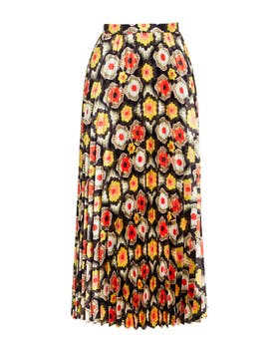 Crochet Print Pleated Skirt