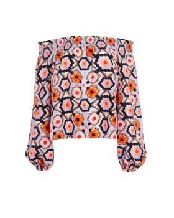 Crochet Print Off-Shoulder Top