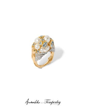 Gold Pearl Diamond Ring