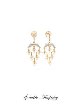 Gold Pearl Diamond Lovebirds Earrings