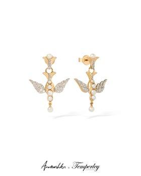 Gold Pearl Diamond Lovebirds Earrings Drop