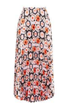 Crochet Print Pleated Skirt
