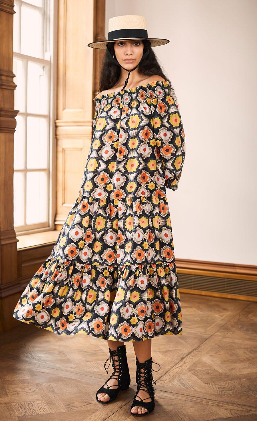 Crochet Print Off-Shoulder Dress